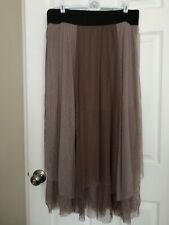 Free People Neutral Brown Taupe Floral Gauzes Sheer Overlay Skirt Size Large EUC