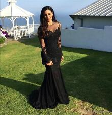 Black Appliques Wedding Evening Dress Party Prom Bridal Cocktail Gown custom