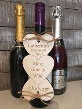 Retirement Leaving Gift Unusual Fun Personalised wine bottle plaque keepsake