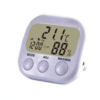 Mini Digital LCD Thermometer Humidity Temperature Meter Hygrometer Gauge Clock