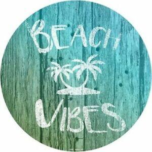 "Beach Vibes 12"" Round Aluminum Metal Sign Novelty Tropical Beach Home Wall Decor"