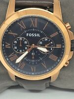 Fossil FS4835 Men's Brown Leather Analog Dial Quartz Genuine Wrist Watch QB261