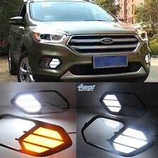 2x LED Chrome Daytime Running Fog Lights Lamp DRL Grill For Ford Kuga ESCAP 2017
