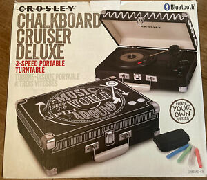 Crosley Cruiser Deluxe Black Chalkboard Turntable Bluetooth BNIB RARE