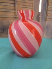 Tozai Home Pink Orange White Swirl Small Glass Vase
