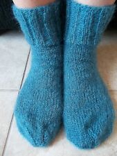 Hand knitted mohair/wool fuzzy socks,country blue