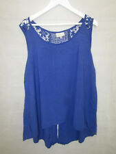 Autograph Size 18 Ladies Blue Sleeveless Blouse Top with Floral Lace Detail *