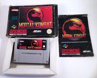 Mortal Kombat - Boxed w/ Manual - Super Nintendo SNES Game PAL Tested & Working