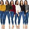 Ladies Womens Oversize Knitted Bubble Sleeve Cropped Jumper Sweater Top Pullover
