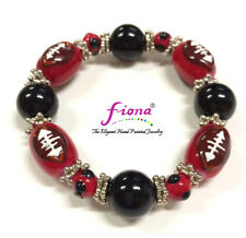 """Sport Game Day Red Black Football Glass Beaded Stretch Bracelet 7.5"""" Woman"""