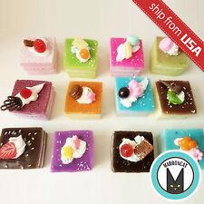 Lot 4 Realistic Fake Food Square Fruit Cake Squishy Display Dessert Frige Magnet