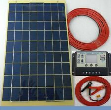 10w Solar Panel + 7m cable & 12v LCD 2 x USB Charger Controller & Battery Clips