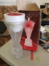 fostoria Diamond Heart Cut Glass Candle Holder Vase 1979 avon