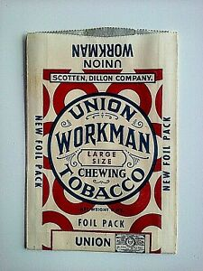Union Workman Chewing Tobacco Empty Unopened Flat Foil Pouch Package