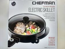 Chefman 12 Inch Round Electric Skillet  All-In-One Pan Large Capacity Glass Lid