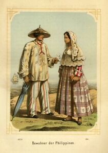 Manila, Philippines, People in Costumes, original coloured lithography from 1871