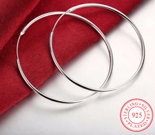Ohrringe Creolen Creole runde Hoops echt 925 Sterling Silber plattiert 50 mm