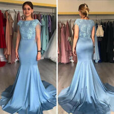 Mermaid Evening Dresses Short Sleeves Lace Appliques Formal Prom Party Gowns