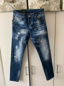 Dsquared2 Men's Jeans Slim Fit Yellow Paint Splatter Distressed Jeans New