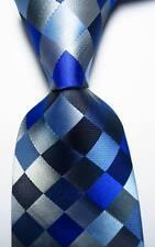 New Classic Checks Blue Gray Black JACQUARD WOVEN 100% Silk Men's Tie Necktie