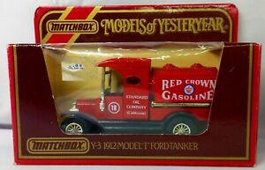 Models of Yesteryear Y-3 1912 Ford Model T Red Crown Gasoline Tanker Matchbox