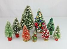 Lot of Vintage Snow Covered Christmas Brush Trees Various Sizes Colors