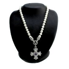 Judith Ripka Sterling Amethyst Cross Enhancer Simulated Pearl Necklace QVC $400
