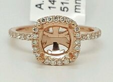 14k Rose Gold Genuine Round Diamond Semi Mount Halo Engagement Ring