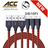 3/6/10Ft Micro USB Fast Charger Data Sync Cable Cord For Samsung HTC Android LG