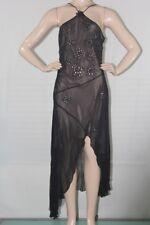 BCBG Max Azria Women's Spaghetti Strap Asymmetric Silk Dress Sz 10 Blak