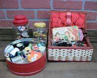 Estate Lot of Sewing Notions - Buttons Thread Spools Miscellaneous