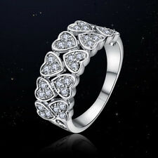 VINTAGE INSPIRED 18K WHITE GOLD PLATED GENUINE CLEAR CUBIC ZIRCONIA HEART RING