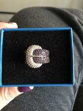 """Brand New Round Amethyst and White Zircon """"Buckle"""" Sterling Silver Ring"""