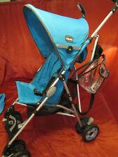 Chicco Capri Lightweight Stroller, Blue Stroller with Hood & Storage Bag USED VG