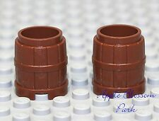 NEW Lego x2 Minifig Reddish BROWN BARREL Wood Pirate Castle Container 2x2x2