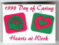 1998 UNITED FUND pin Day of Caring HEARTS at Work hand