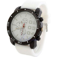 Fashion Men's Big Dial Silicone Rubber Band Sport Analog Quartz Wrist Watch New