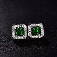 Vintage Ladies Princess Green Emeral CZ Crystal Wedding Stud Earrings Jewelry