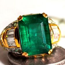 9.85 Ct Natural Emerald ring solid gold 18k diamond Zambian,estate vintage rings