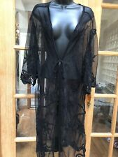 Black Lace Kimono Vintage Look Embroidered Cloak