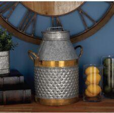 "17"" Rustic Galvanized Mixed Metal Decorative Milk Jug Can w/Handles ~ Textured"