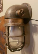 Brass R&S Co. Russel & Stoll explosion proof antique nautical wall light working