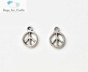 Tibetan Silver CND Peace Round Charms Pendants 12mm (TC57)