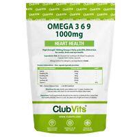 Omega 3 6 9 1000mg Fish Oil | High Strength | 365 Capsules | Club Vits
