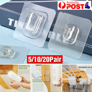 5/10/20 Pairs Double-sided Adhesive Wall Hooks water proof Hanging Accessory