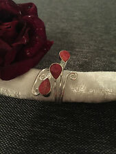 925 STERLING SILVER RING - CORAL RED STONES - SILVER SWIRL WRAP -ADJUSTABLE SIZE