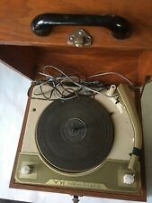 Vintage Voice Of Music Portable Turntable Record Album player w/ Wooden Case