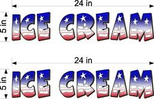 """Pair Of 5"""" X 24"""" Vinyl Decals Ice Cream Red White Blue Flag Style Truck Cart"""