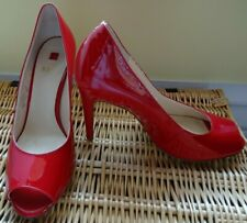 HOGL RED PATENT LEATHER PEEP TOE SHOES EUR 38 UK 5