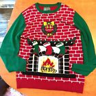 Ugly Sweater Christmas Holiday fireplace Mens w/ Flashing Lights XL